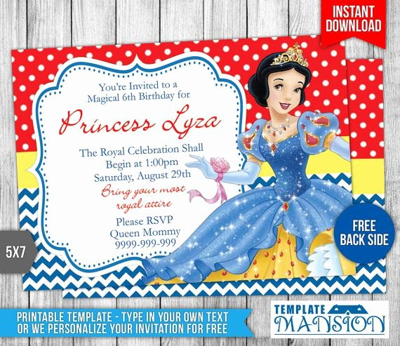 Snow White Invitation Template Elegant 34 Best Disney Princess Invitation Printables Images On