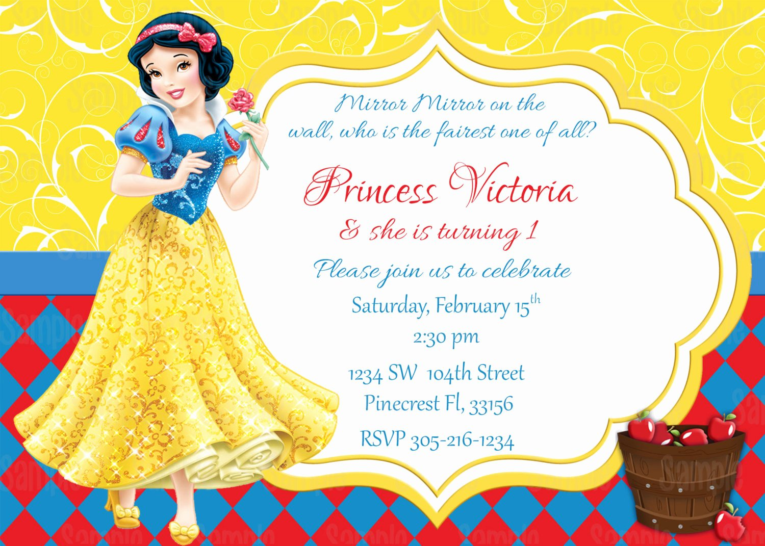 snow white printable birthday party