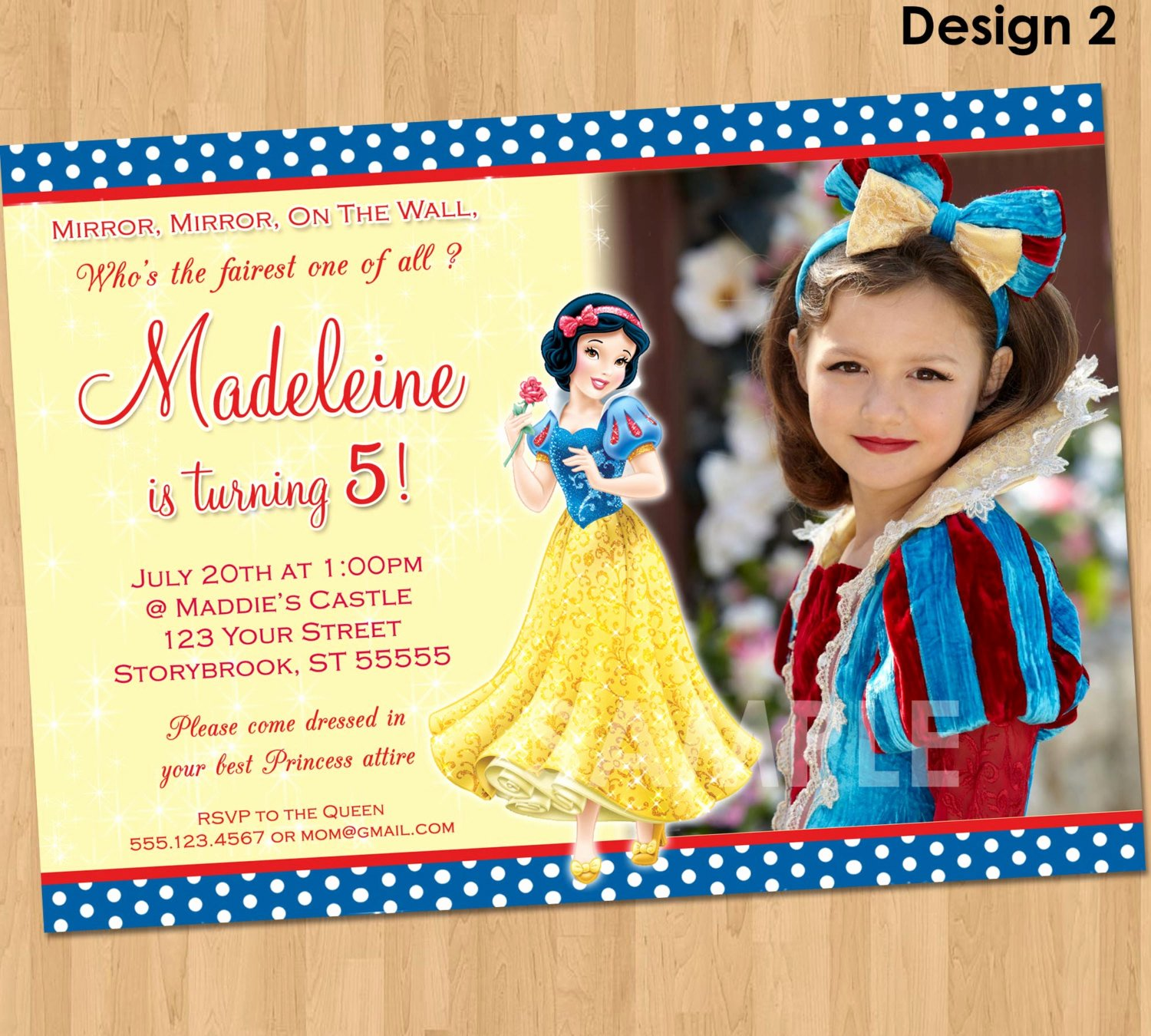 Snow White Invitation Template Lovely Snow White Invitation Snow White Party Custom Personalized