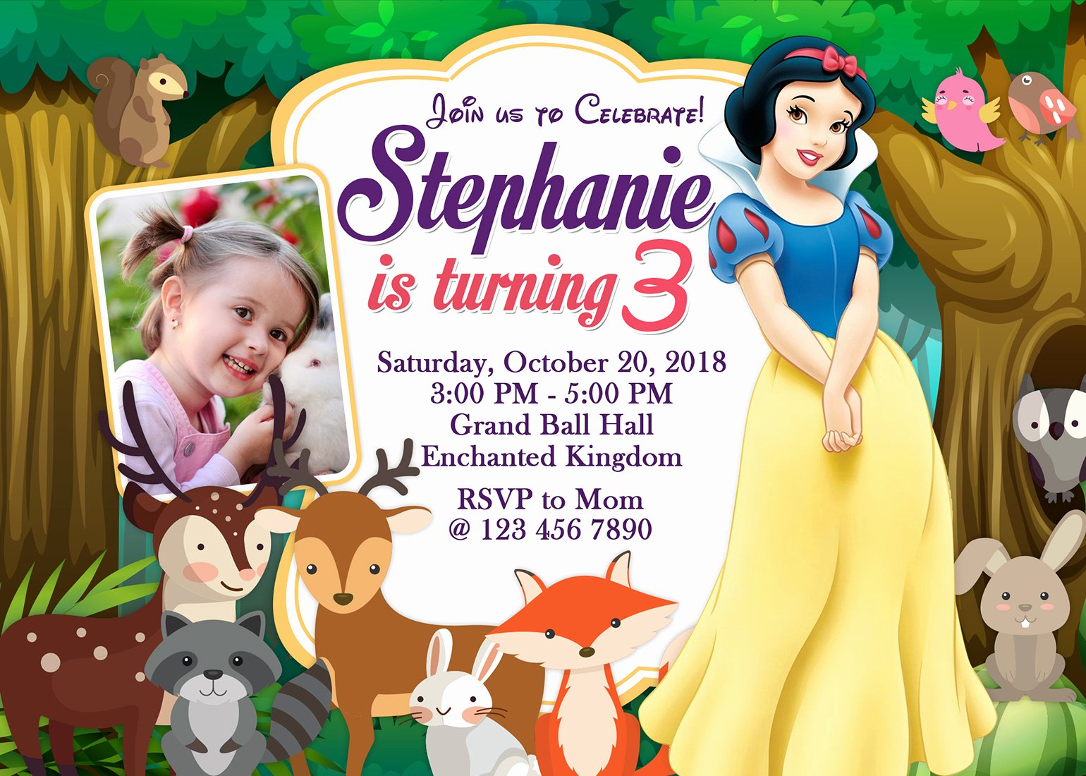 Snow White Invitation Template New 5r Snow White Birthday Invitation