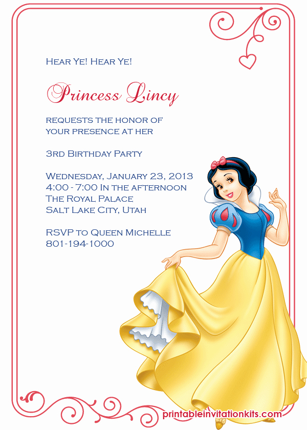 Snow White Invitation Template New Snow White Princess Birthday Invitation ← Wedding