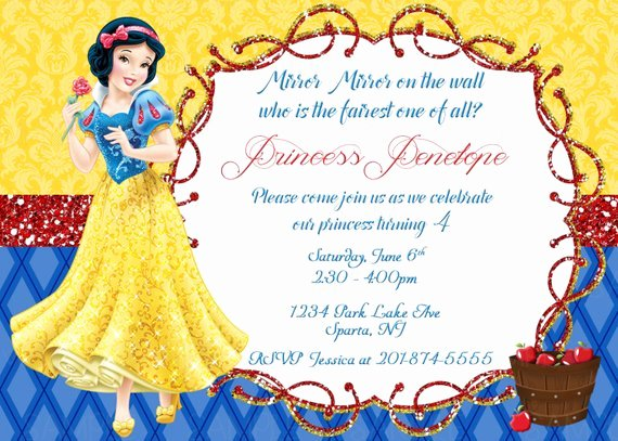 Snow White Invitation Template New Snow White Printable Birthday Party Invitation Plus Free