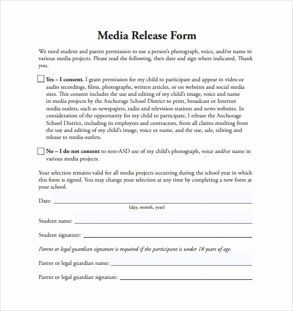 Social Media Permission form Beautiful Sample Media Release form 6 Download Free Documents In