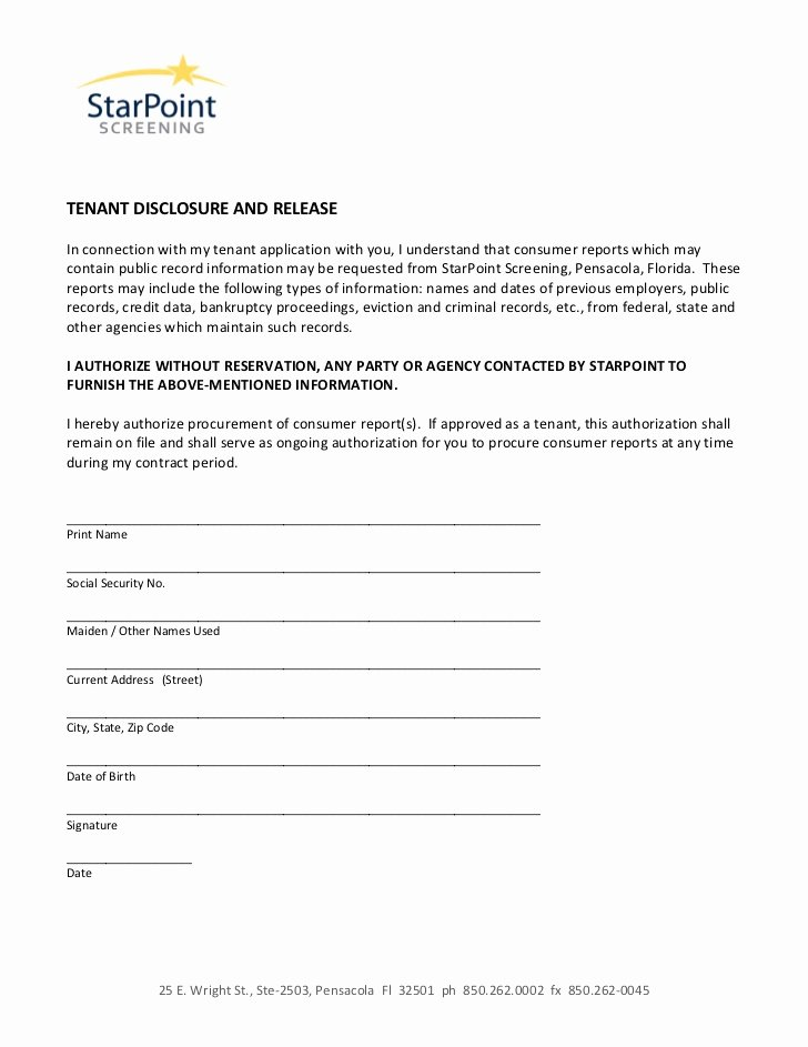 Social Media Permission form Elegant Authorization form Disclosure and Release Tenant