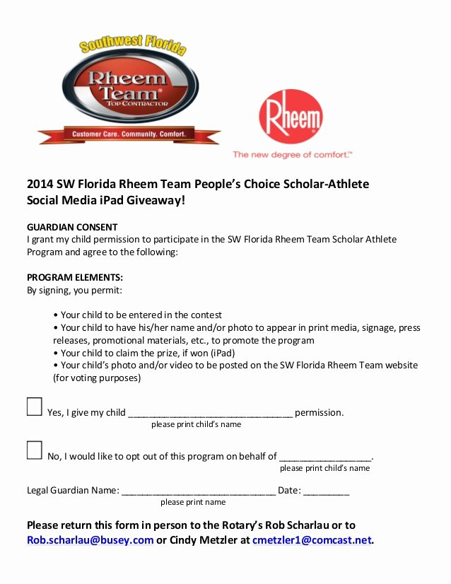 Social Media Permission form New Consent form 2014 Sw Fl Rheem Team People's Choice Scholar