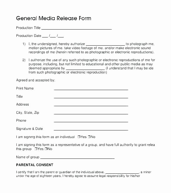 Social Media Permission form Unique Media Release Consent form Template – Chanceinc