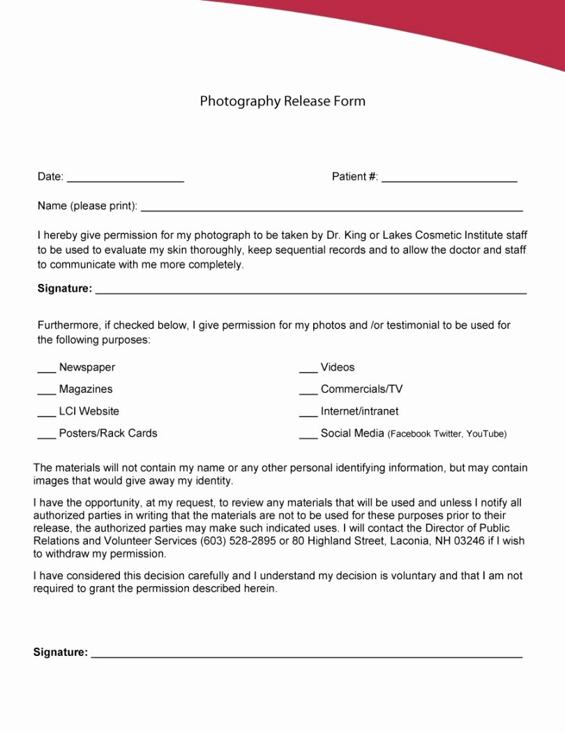 Social Media Permission form Unique Website and social Media Release form