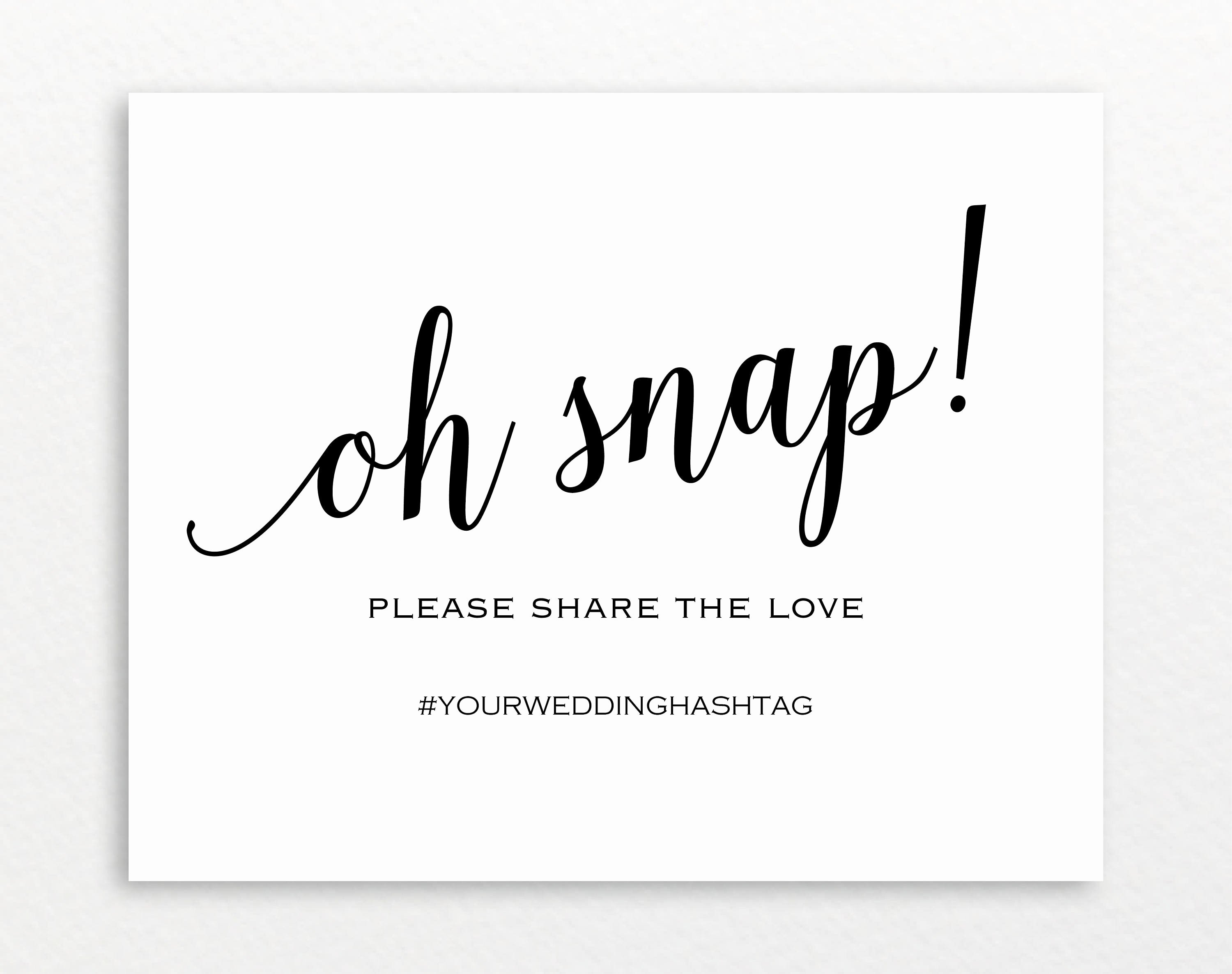 Social Media Wedding Sign Template Awesome Oh Snap Wedding Sign Template Printable Hashtag Sign