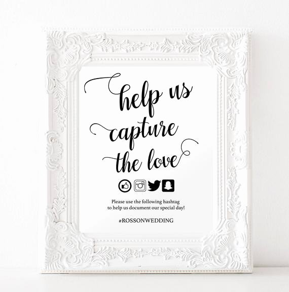 Social Media Wedding Sign Template Beautiful Capture the Love Hashtag Sign Wedding Hashtag Sign