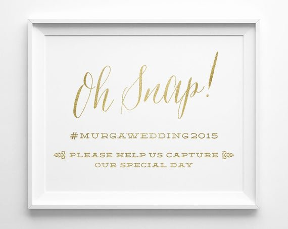 Social Media Wedding Sign Template Beautiful Wedding Signs Oh Snap Hashtag social Media Wedding Sign