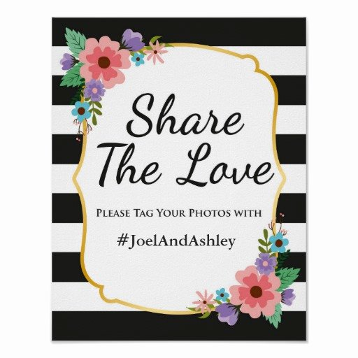 Social Media Wedding Sign Template Fresh social Media Hashtag Wedding Sign Poster