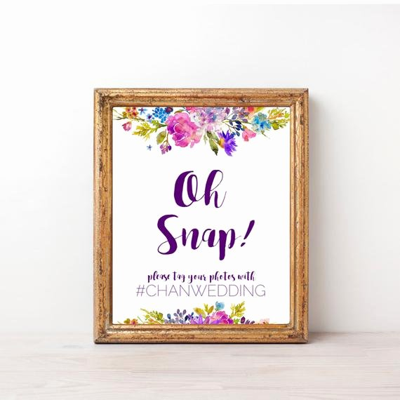 Social Media Wedding Sign Template Inspirational Garden Oh Snap Wedding Sign Template A Printable Purple