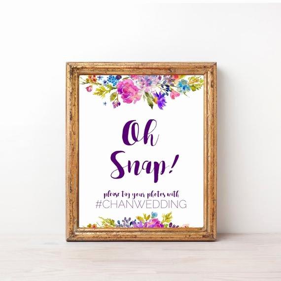 Social Media Wedding Sign Template Inspirational Garden Oh Snap Wedding Sign Template A Printable Purple