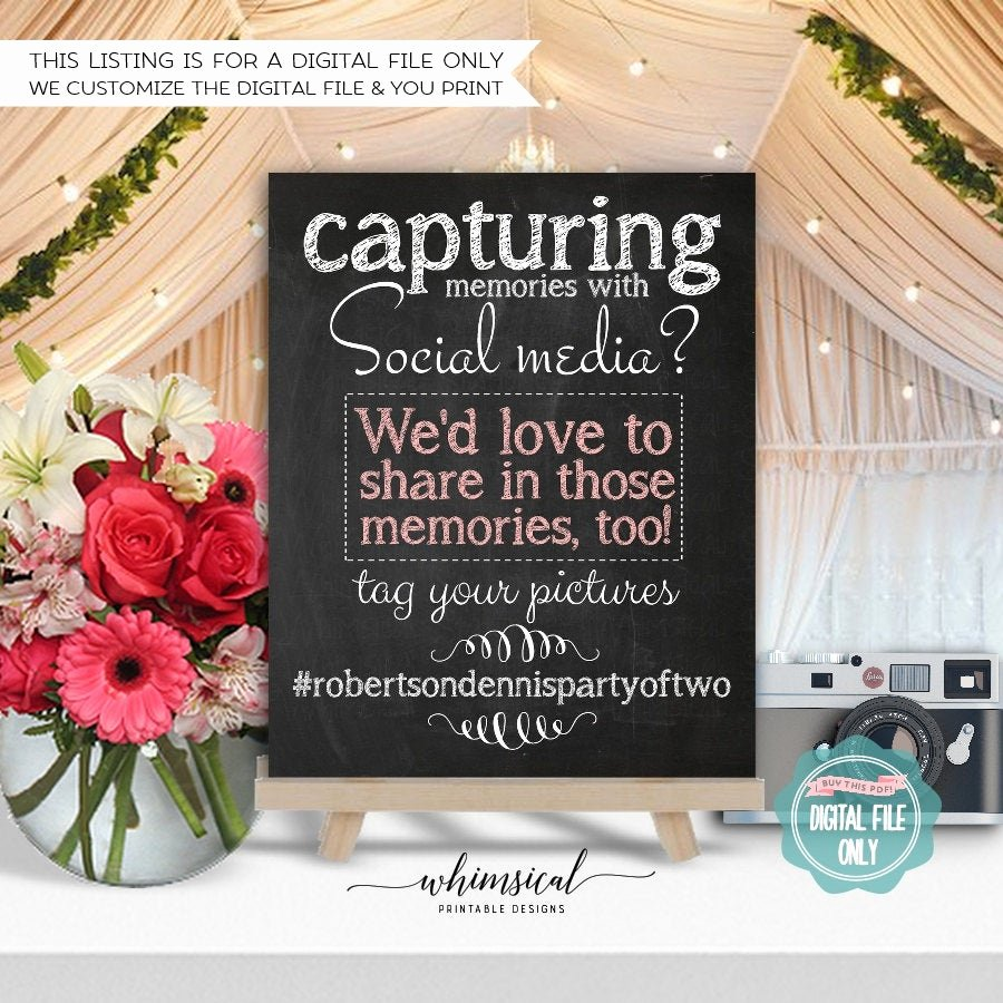 Social Media Wedding Sign Template Inspirational Hashtag Sign original Printable File Ly