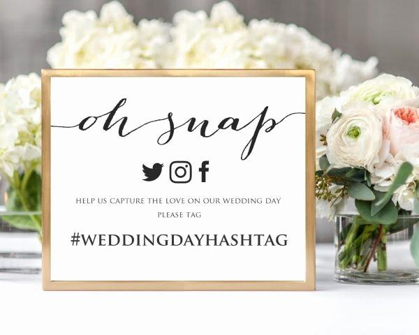 Social Media Wedding Sign Template Inspirational Oh Snap Wedding Hashtag Sign Hashtag Sign Printable