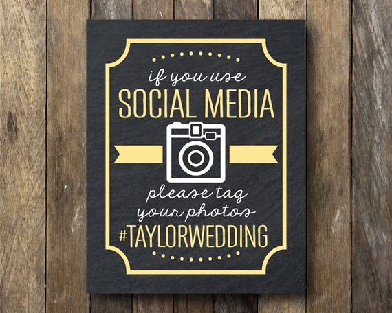 Social Media Wedding Sign Template New Hashtag Wedding Printable social Media Sign Wedding