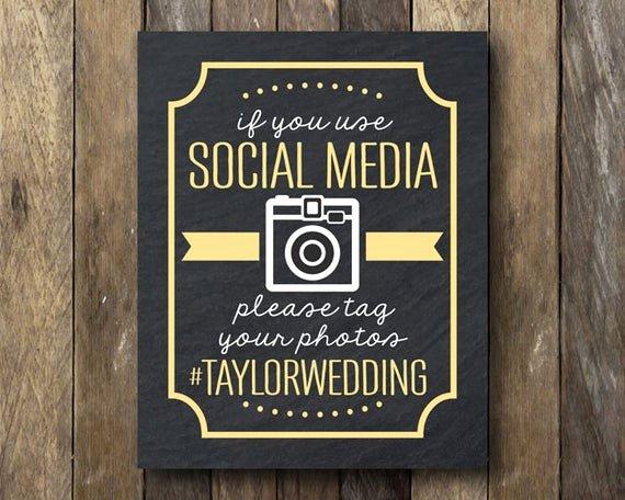 Social Media Wedding Sign Template New Hashtag Wedding Printable social Media Sign Wedding