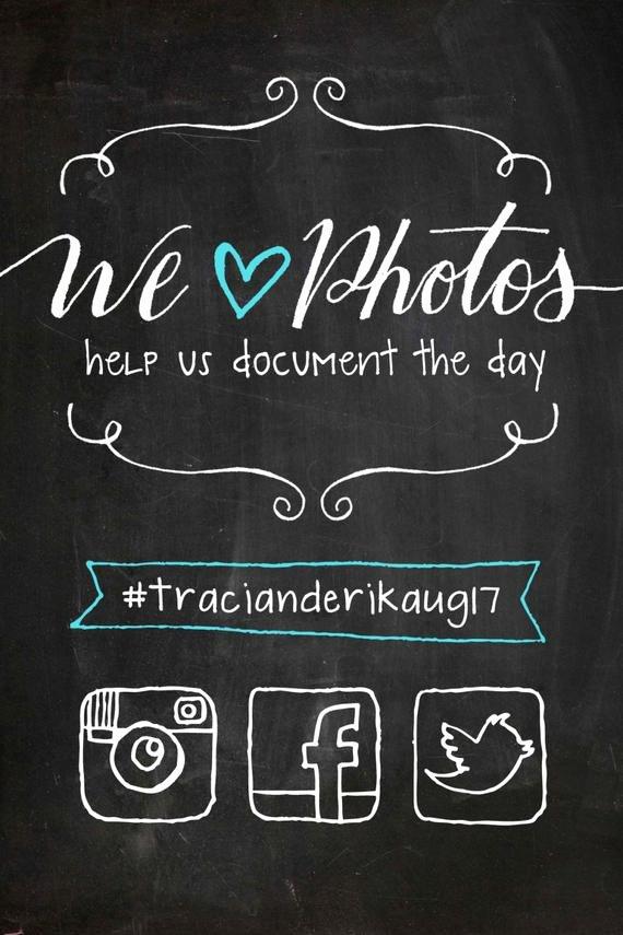 Social Media Wedding Sign Template New Items Similar to Custom Illustrated social Media