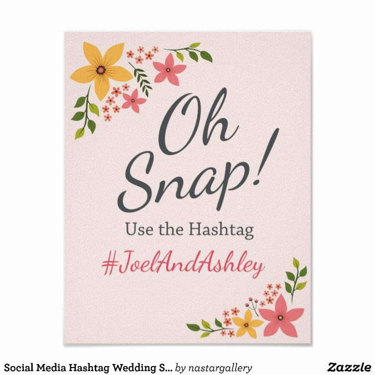 Social Media Wedding Sign Template Unique social Media Hashtag Wedding Sign Poster