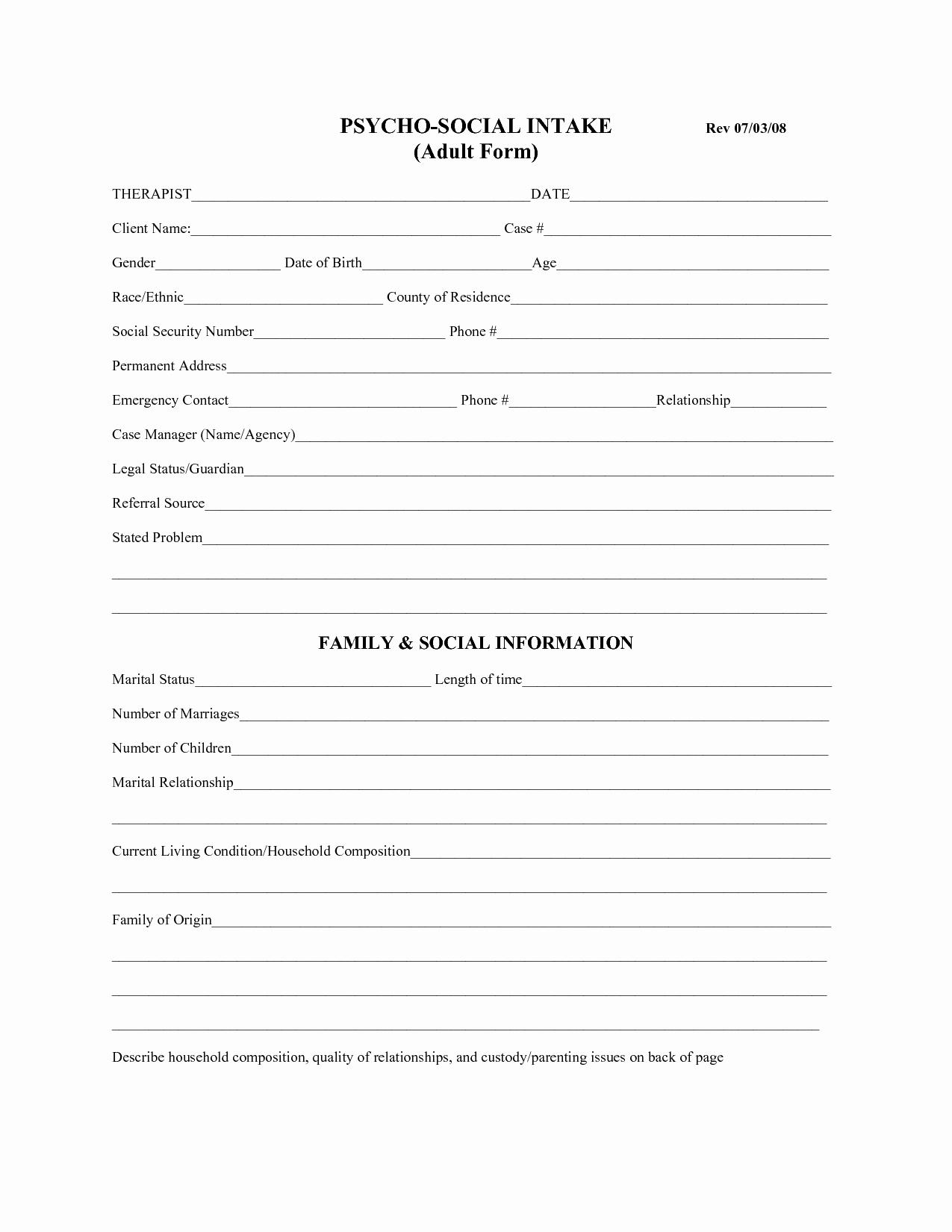 Social Work assessment form Fresh Best S Of social Work Client assessment forms