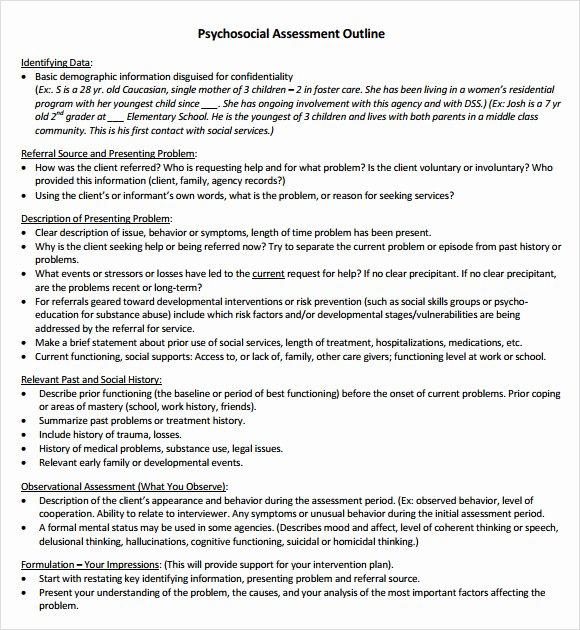 Social Work assessment form Fresh Free 8 Sample Psychosocial assessments In Pdf