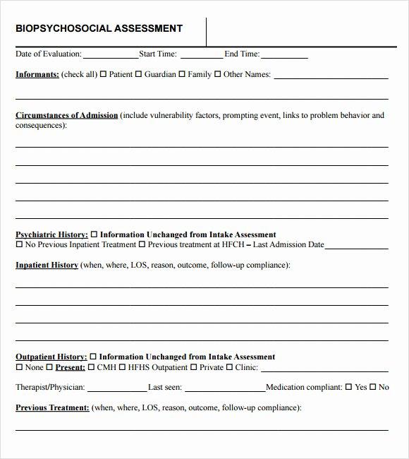 Social Work assessment form Inspirational 9 Biopsychosocial assessment Templates Pdf