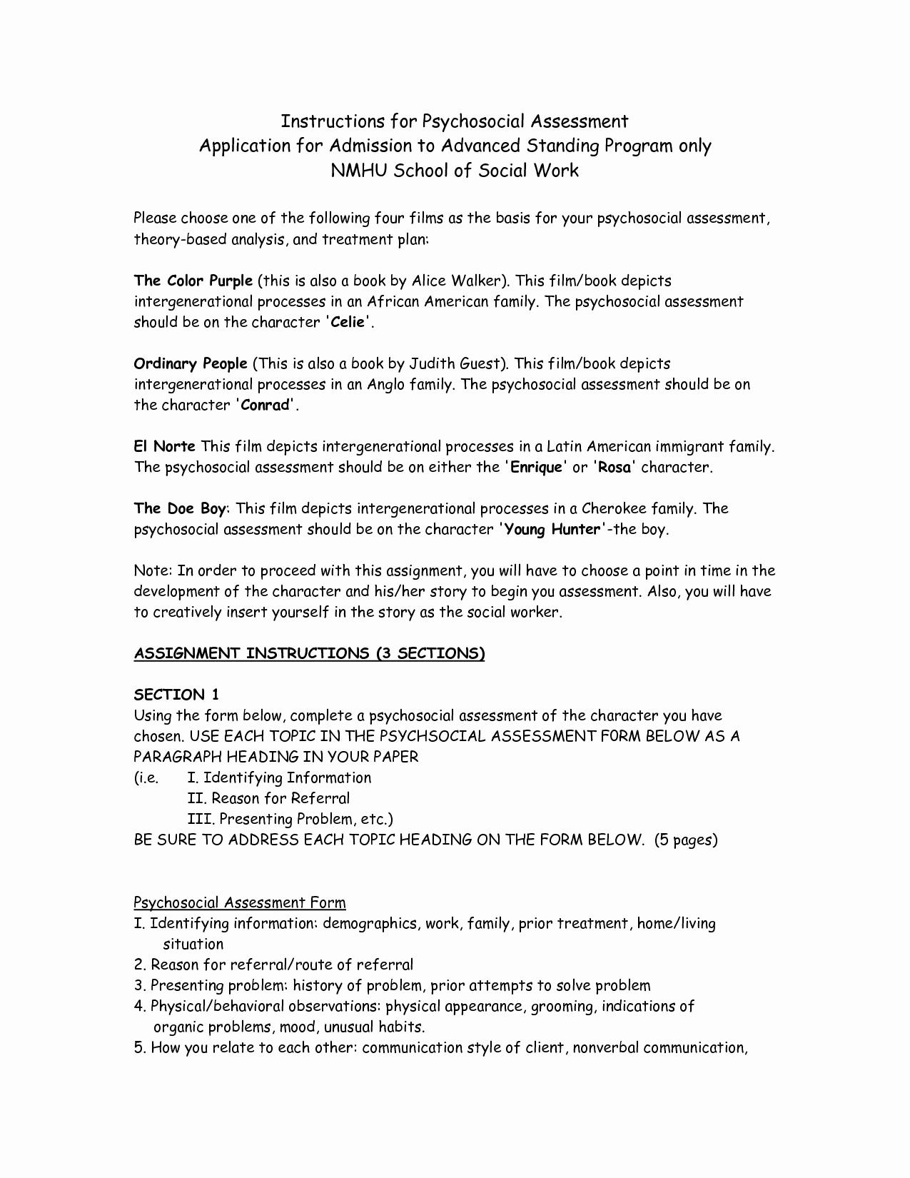 Social Work assessment form Lovely Best S Of social Work Client assessment forms