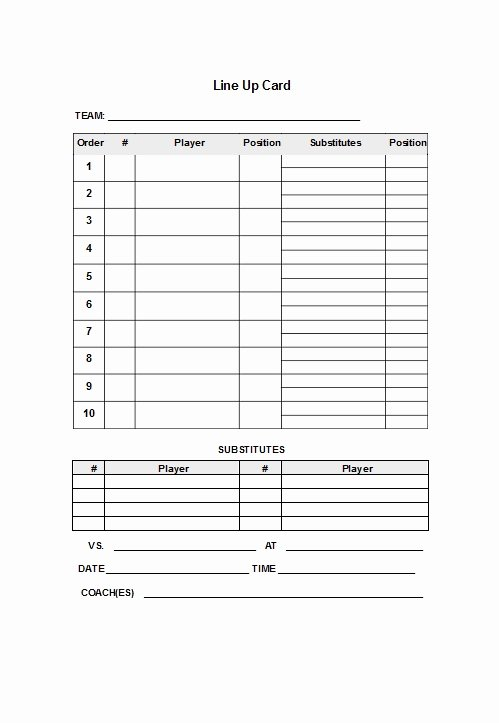 Softball Lineup Cards Printable Elegant 33 Printable Baseball Lineup Templates [free Download]