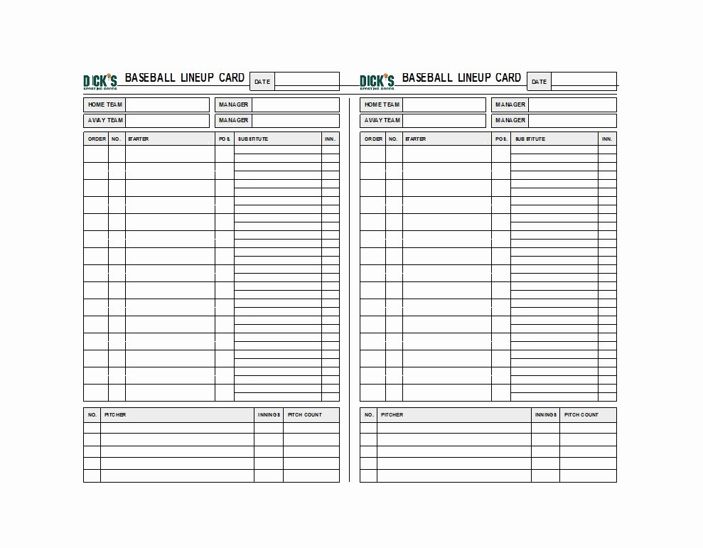 Softball Lineup Cards Printable Elegant 33 Printable Baseball Lineup Templates [free Download]