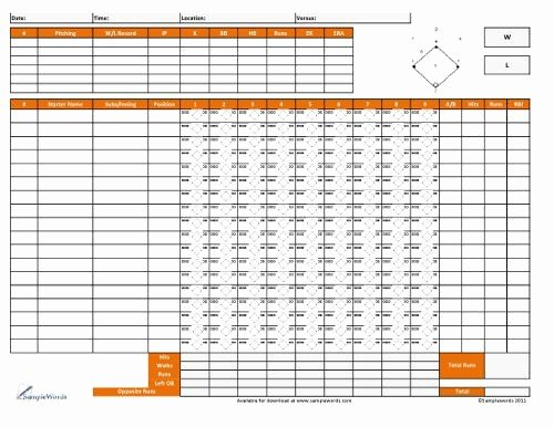 Softball Lineup Cards Printable Lovely softball Score Sheet Free Download