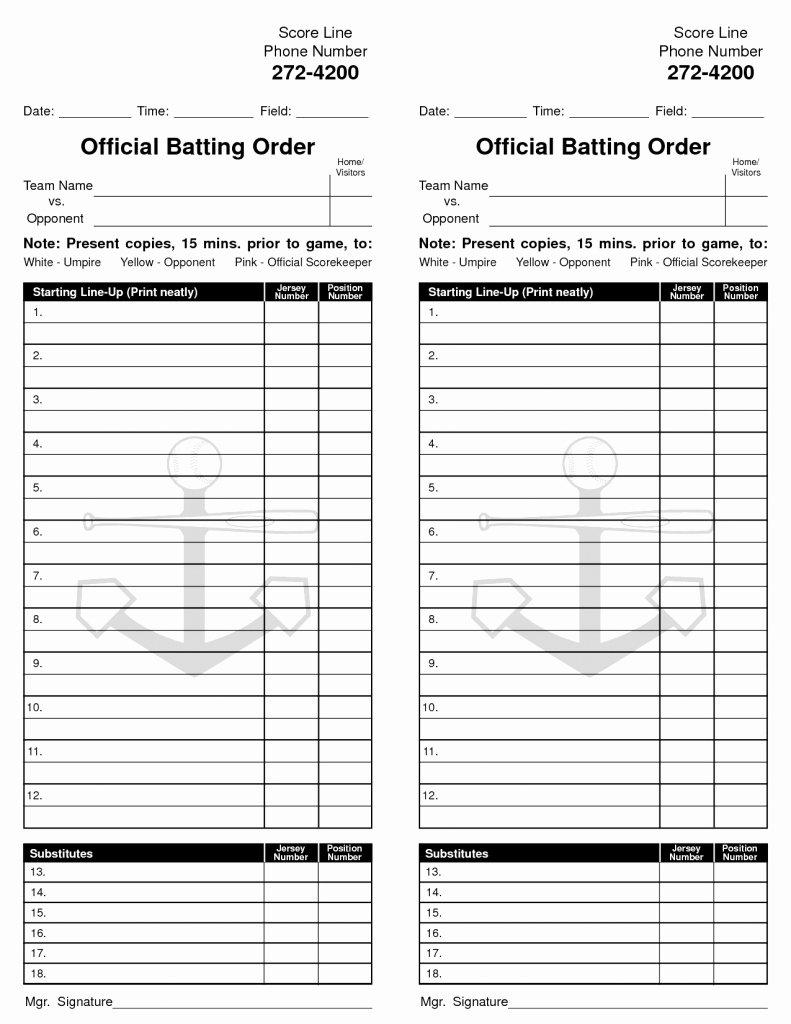 Softball Lineup Cards Printable Unique Printable softball Lineup Cards