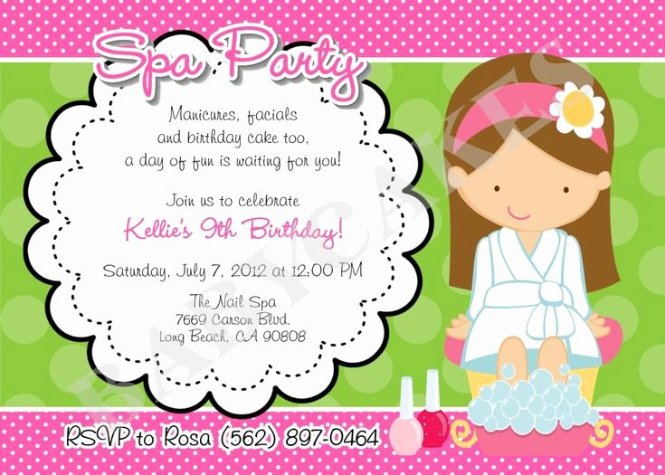 Spa Party Invitation Wording Beautiful Birthday Invitations Exciting Spa Party Invitation Design