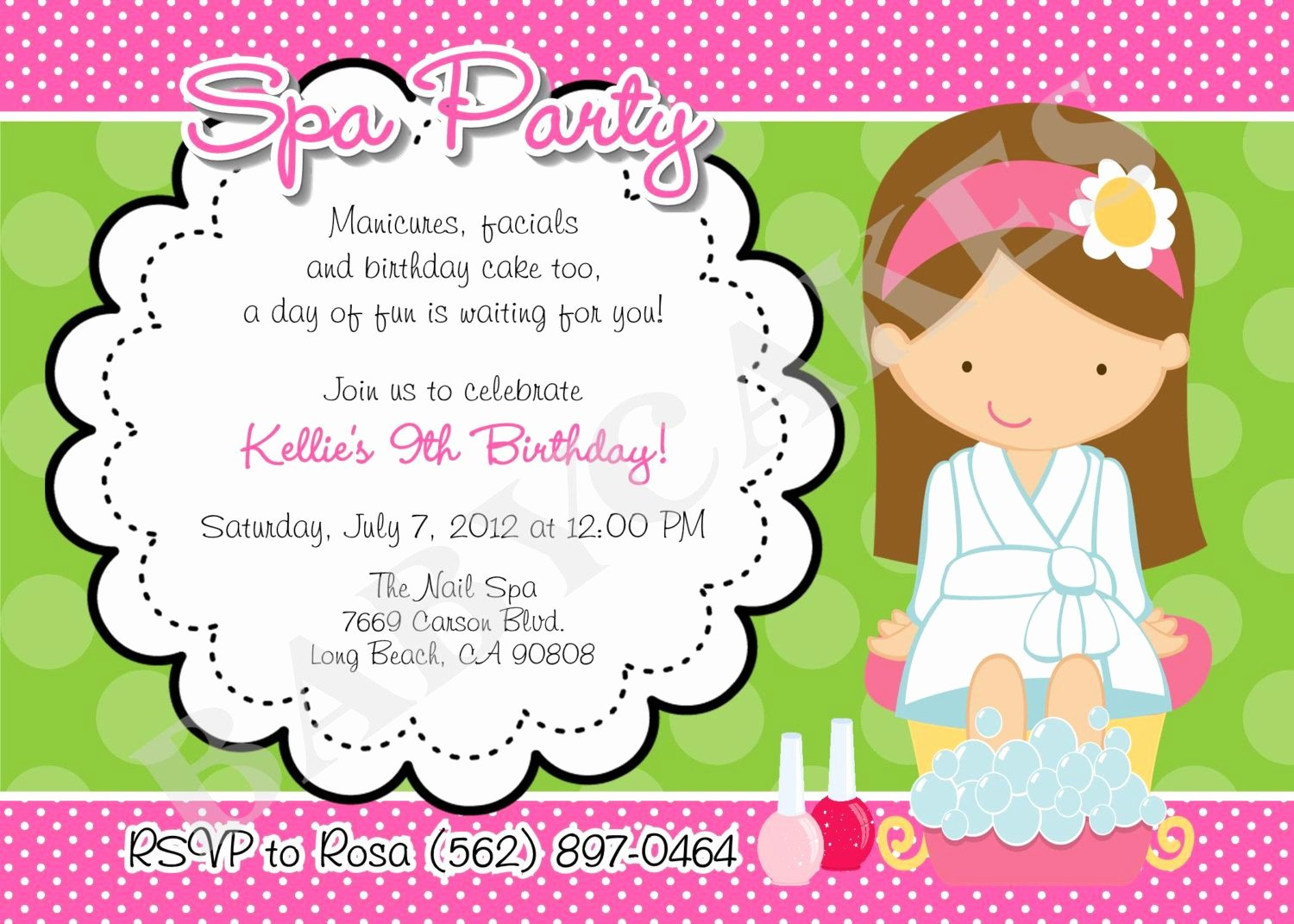 Spa Party Invitation Wording Best Of Birthday Invitations Exciting Spa Party Invitation Design
