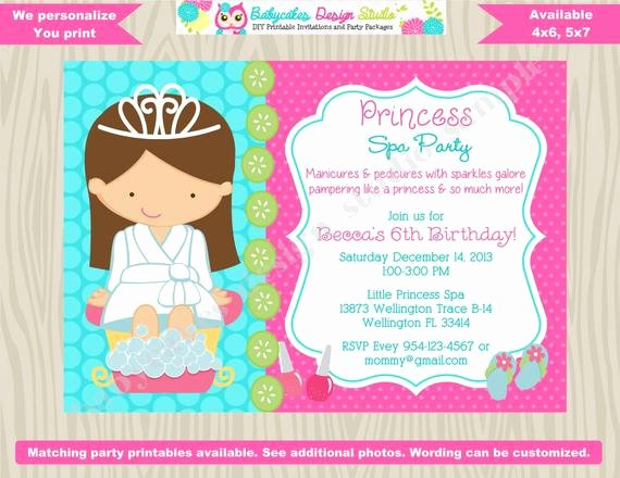 Spa Party Invitation Wording Best Of Princess Spa Party Invitation Princess Spa Day Princess Spa