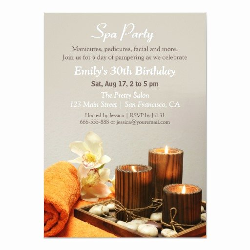 Spa Party Invitation Wording Best Of Relaxing Spa Birthday Party Invitations