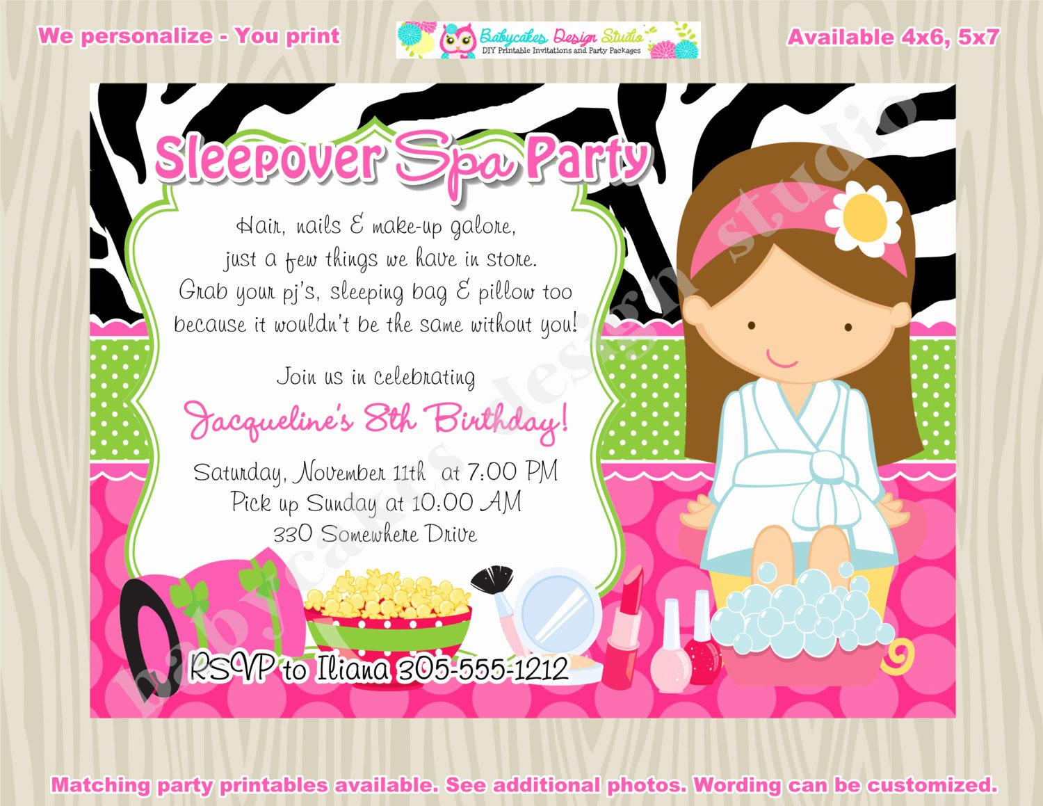 Spa Party Invitation Wording Best Of Sleepover Spa Party Invitation Spa Sleepover Invitation Invite