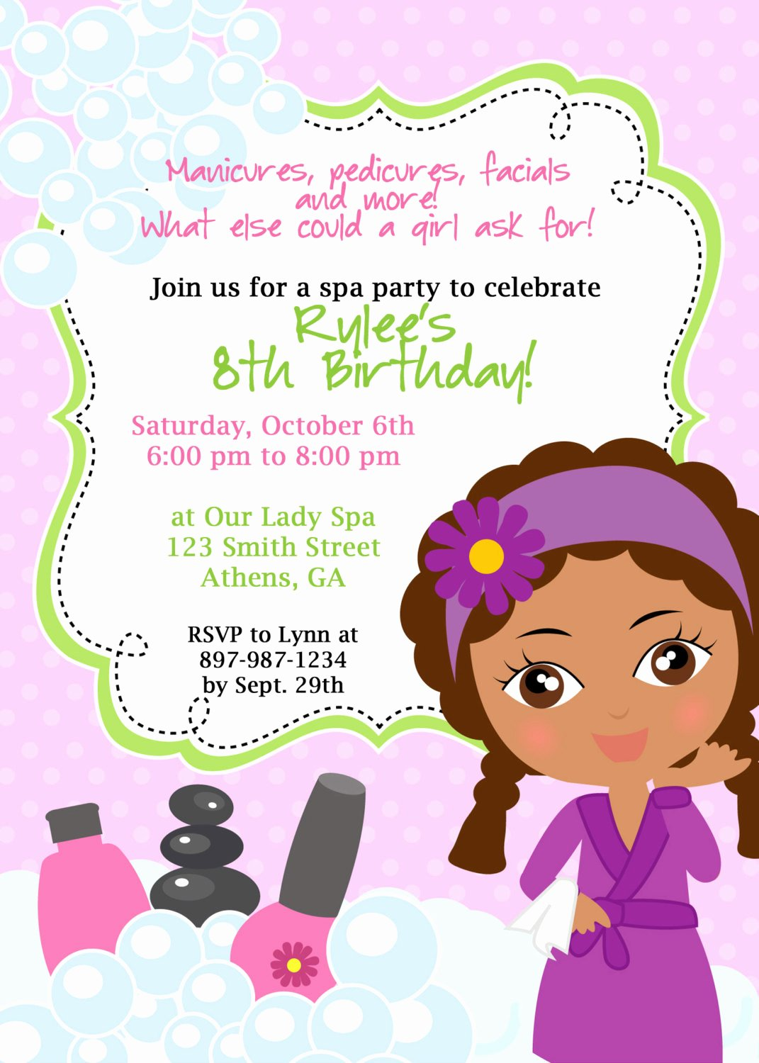 Spa Party Invitation Wording Elegant Diy Sassy Spa Party Invitation African American by Cohenlane
