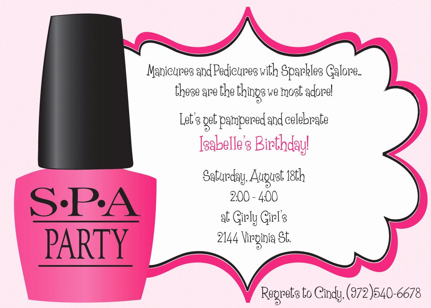 Spa Party Invitation Wording Elegant Ooh La La Spa Party Girls Birthday Invitation Includes