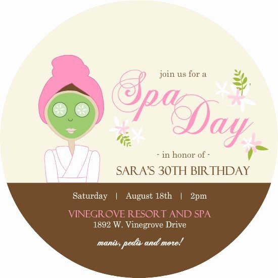 Spa Party Invitation Wording Elegant Spa Party Invitation Wording