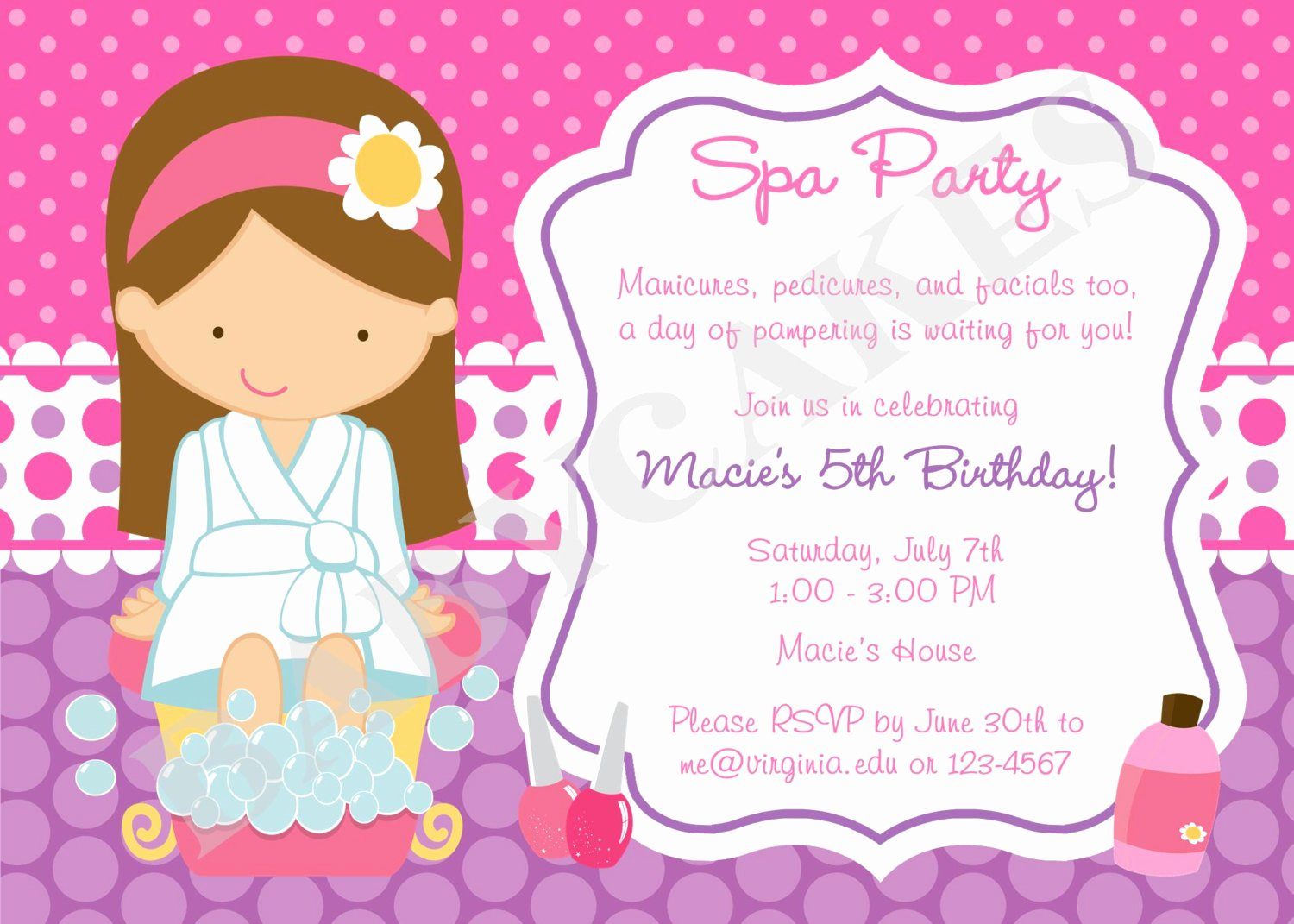 Spa Party Invitation Wording Fresh Spa Party Birthday Invitation Invite Spa Birthday Spa Invite