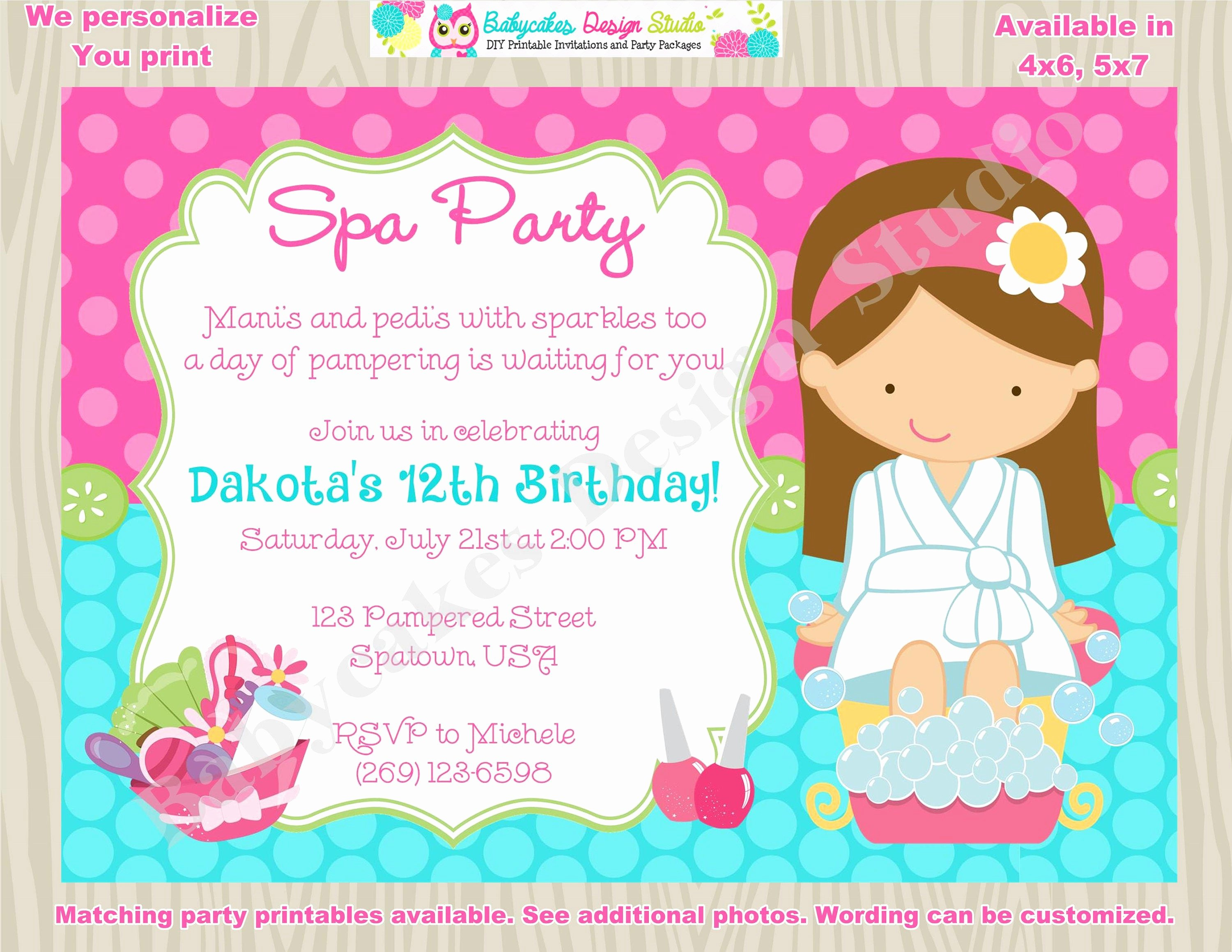 Spa Party Invitation Wording Fresh Spa Party Invitation Spa Birthday Invitation Invite Spa Day