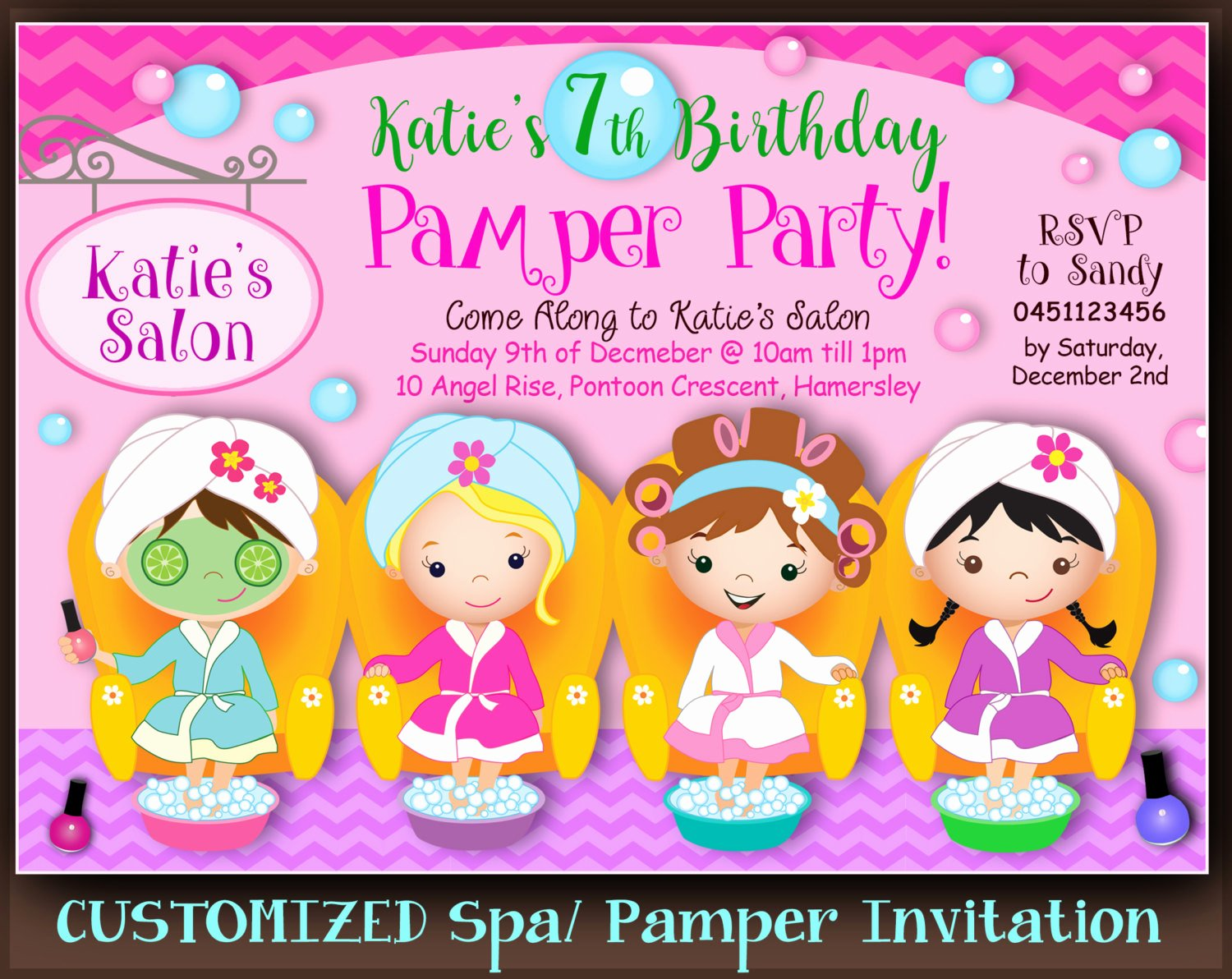 Spa Party Invitation Wording Inspirational Customized Spa Party Invitation Pamper Party Invite