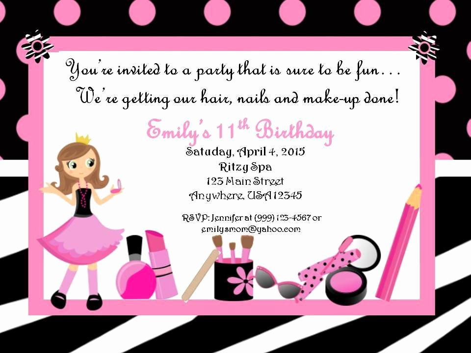 Spa Party Invitation Wording Inspirational Personalized Custom Spa Birthday Party Invitation Style A
