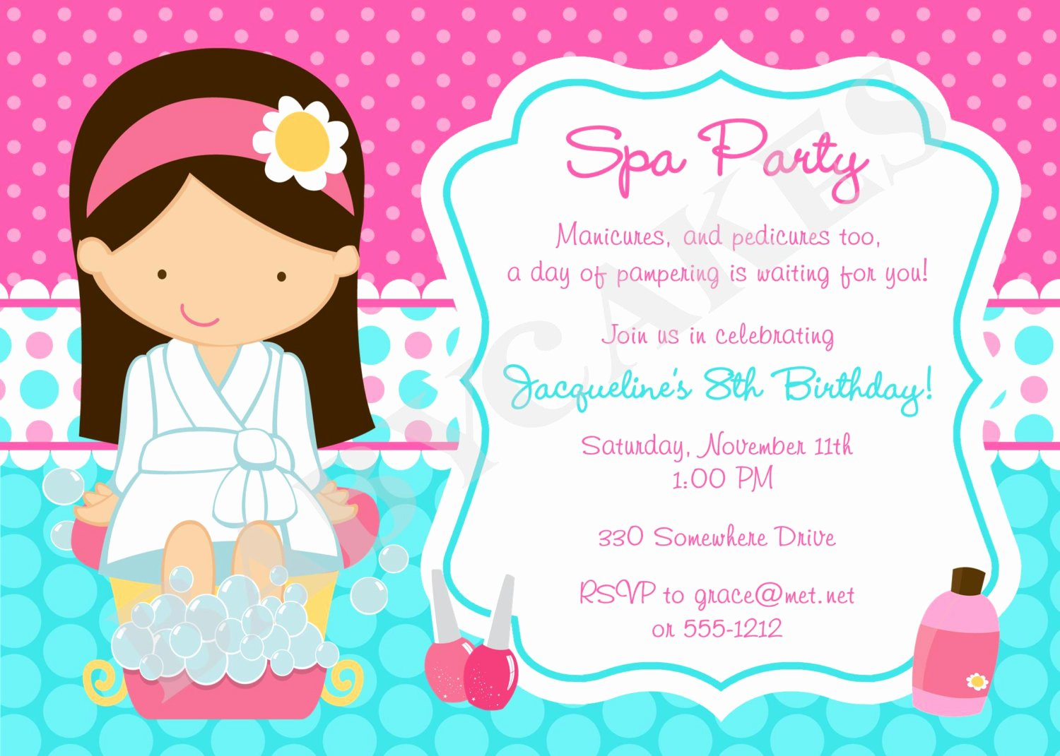 Spa Party Invitation Wording Inspirational Spa Party Invitation Diy Print Your Own Choose by Jcbabycakes