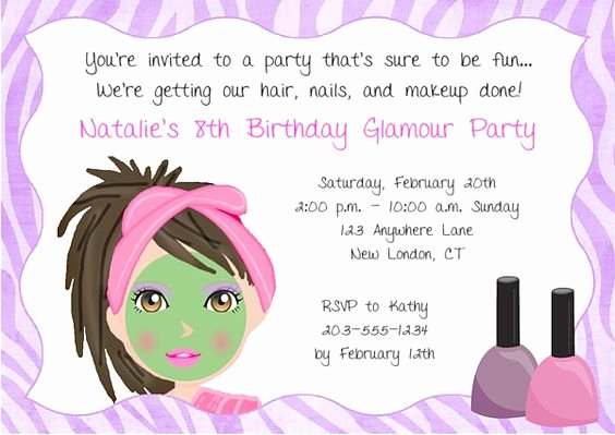 Spa Party Invitation Wording Lovely Girls Spa Party Invitation Wording