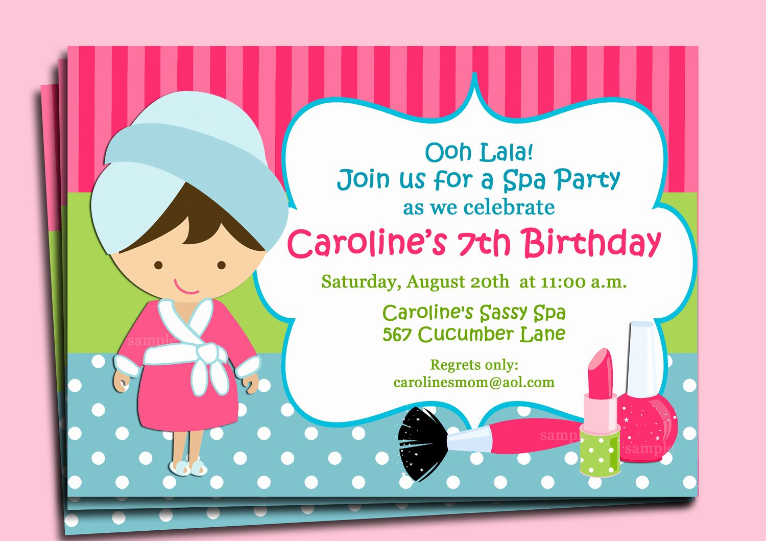 Spa Party Invitation Wording Lovely Spa Invitation Printable or Printed with Free Shipping You