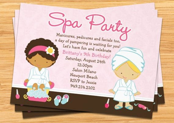 Spa Party Invitation Wording Luxury Girls Spa Party Invitation