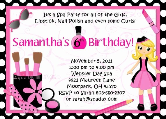Spa Party Invitation Wording Unique Spa Party Birthday Invitations Glamour Girl Beauty Day Polka