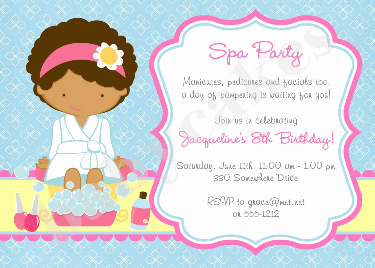 Spa Party Invitation Wording Unique Spa Party Invitation Spa Birthday Party Invitation Invite Spa