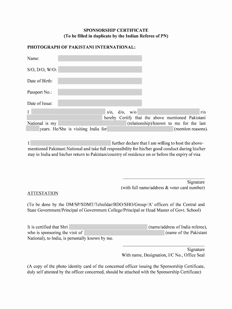 Sponsorship Letter for Visa Fresh Indian Visa Sponsor Letter Sample Fill Line Printable